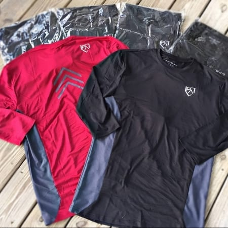 2 Different Colors of Our Pathology Apparel Elevate 3/4 Sleeve baseball Tees- Cardinal and Black